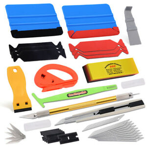 Pro Car Vehicle Vinyl Tools Wrap Squeegee Felt Scraper Cutter Window Tint Kit Us
