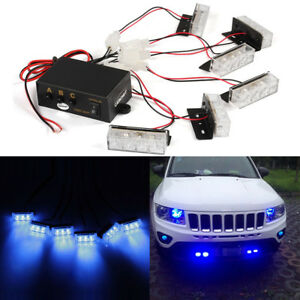 Car 6 Bars X 3 Leds Blue Strobe Emergency Flashing Police Warning Grill Lights