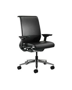 Steelcase Think Chair Leather 4 way Adjustable Arms Adjustable Lumbar Support