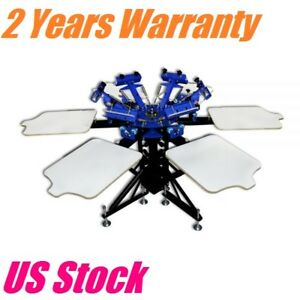 Us 6 Color 6 Station Screen Printing Machine Screen Press Equipment T shirts Diy
