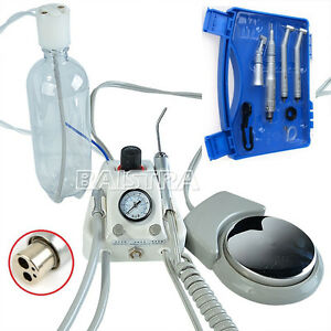 Portable Dental Turbine Unit Air Compressor high low Speed Handpiece Kit 4 holes