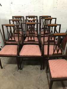 10 Chippendale Dining Room Chairs Late 1800 S