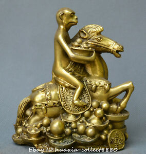 Collect Chinese Fengshui Old Bronze Horse Monkey Make Fortune Money Statue