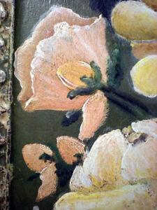 Antique Victorian Ceiling Tin Tile Hand Painted Yellow Flowers Rose Cottage Chic