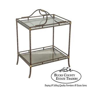 Quality Wrought Iron Glass Brass 2 Tier Side Table Stand