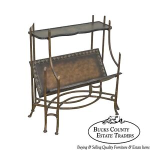 Regency Style Heavy Wrought Iron Faux Bois 2 Tier Book Stand