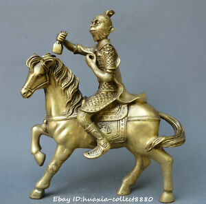 Collect Chinese Fengshui Old Bronze Monkey King Sun Wukong Ride Horse Statue