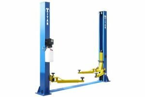 New Titan 9 000 Lbs 2 post Auto Lift Floorplate Hoist Asymmetric Arms 112