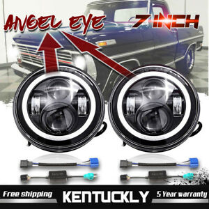 Ford F100 1969 1979 A Pair Dot Cree 7 Led Headlight Angel Eye Amber Turn Signal