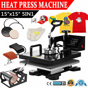 5in1 T shirt Heat Press Machine 15 x15 Transfer Baseball Hat Cap Swing Away