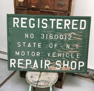 Antique Hand Painted Wood Sign Registered Repair Shop Ny Large Garage Vintage