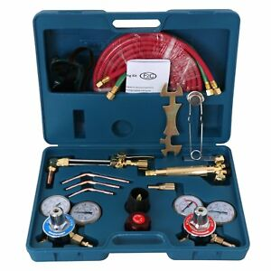 Portable Gas Welding Cutting Torch Kit W Hose Oxy Acetylene Brazing Pro Set