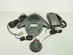 Polycom Vtx1000 Conference Phone System W Power Module Mic Phone Lines Tested