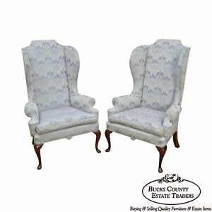 Custom Quality Pair Of Mahogany Queen Anne Style Wing Chairs