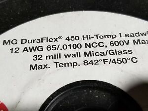 Tempco 12awg Mg Duraflex 450 High Temp Mica Glass Lead Wire 600v 450c Ldwr 50ft