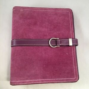Franklin Covey Purple Suede Buckle Strap 7 Ring 1 5 Planner Binder Leather