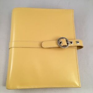 Franklin Covey Classic Binder Yellow Unstructured Leather Planner Plus Post Its