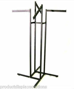 4 Way Clothing Garment Display Rack W 2 Straight 2 Slanted Blade Arms Black