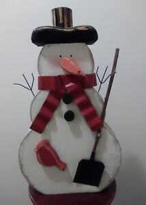 Wood Standing Snowman Hand Painted Distressed Metal Scraf And Hands