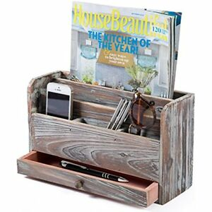 Torched Wood Desktop Office Supplies Organizer Mail Sorter And Document Holder