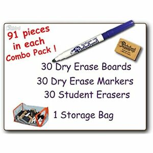 30 Student Blank Dry Erase Boards Combo Pack Double Sided With Dry Erase