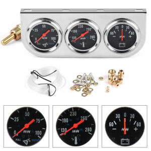 52mm Chrome 3in1 Car Triple Gauge Kit Oil Pressure Fahrenheit Water Temp Ammeter