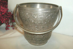 Vintage Silver Special Plate Ice Bucket Intricate Etched Design