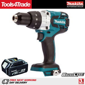 Makita Dhp481z 18v Li ion Brushless Combi Hammer Drill With 1 X 5 0ah Battery