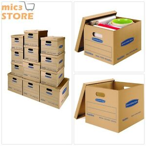 12 Moving Kit Boxes 8 Small 4 Medium Packaging With Lift off Lid Handles S