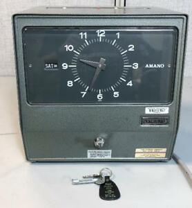 Vintage Metal Mechanical Analog Amano Series 9000 Time Recorder Clock 9009