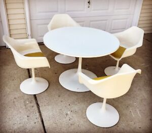 Maurice Burke Saarinen Style Tulip Dining Table 4 Chairs Original Mid Century