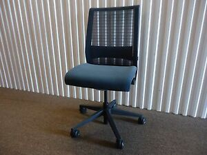 Armless Think Chair In 3d Knit Back By Steelcase Navy Blue Fabric Color