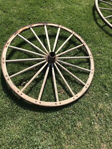 2 Antique Country American Wood Cast Iron Wagon Wheels