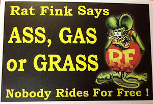 Rat Rod Hot Rod Sticker Ass Gas Or Grass Rat Fink Vintage Racing Gas Oil
