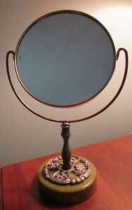 Beautiful Antique Mirror Green Stand