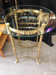 Vintage Table Brass Glass Italy Tall Hoof Footed Mid Century Modern Round