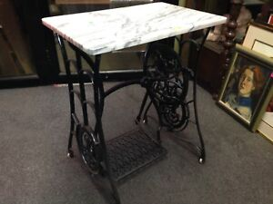 Vintage Singer Sewing Table Marble Top Wrought Iron Staten Island Pick Up