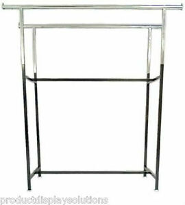 Commercial Grade Clothing Double Bar H Rack Adjustable Height 48 72 Black