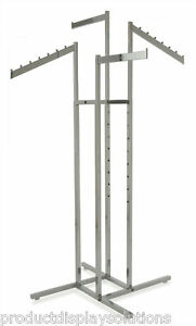 4 Way Clothing Garment Display Rack W 2 Straight 2 Slanted Blade Arms Chrome