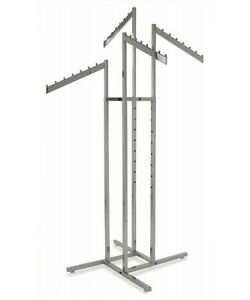 4 Way Clothing Garment Display Rack W 4 Waterfall Slanted Blade Arms Chrome