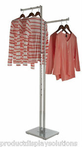 2 Way Clothing Garment Display Rack With 2 Straight 16 L Arms Chrome
