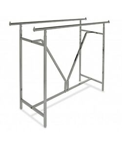 Commercial Clothing Double Bar H Rack Adjustable H 48 72 W V brace Chrome