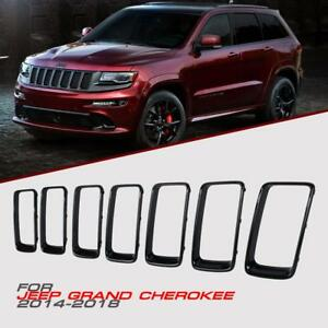 7pcs Gloss Black Front Grille Trim Ring Insert For Jeep Grand Cherokee 2014 2018