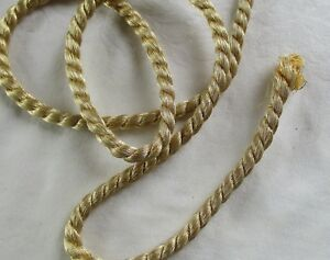 Vintage Gold Metallic Rope Cording Two Strand Cotton Fill 3 16 Wide