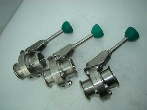 3 Ss Sanitary 2 Tri clamp Butterfly Valves With Control Arm