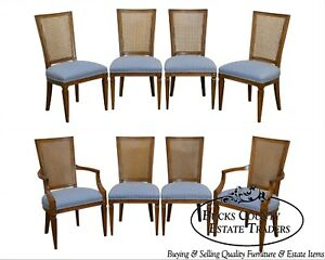 Directoire Style Set Of 8 Vintage Cane Back Dining Chairs