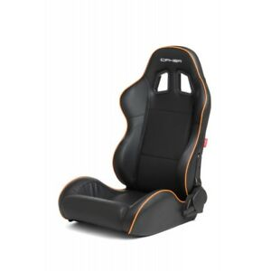 Cipher Auto Black Leatherette W orange Piping Universal Euro Racing Seats Pair