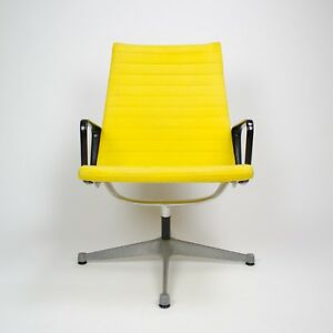 1960 S Yellow Eames Herman Miller Aluminum Group Lounge Chair Fabric Knoll