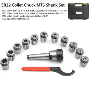 Er32 Chuck Mt3 Shank Spanner With 11 Pc Collets Set Box For Milling Machine