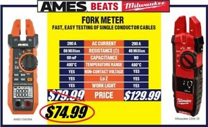 Ames Fork Meter W Screen 200 A Clamp Beats milwaukee Voltage Current Commercial
